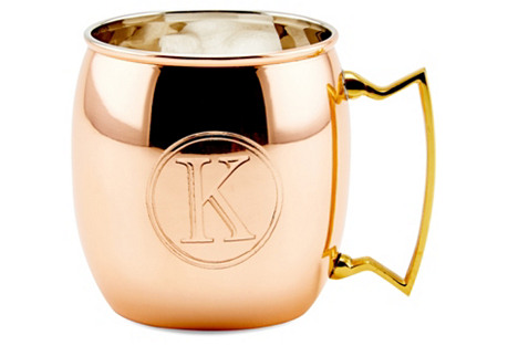 Copper Moscow Mule Mug, Monogram K, 16Oz