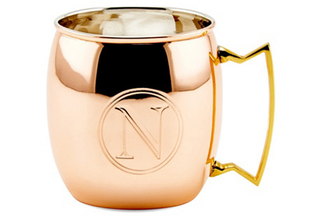 Copper Moscow Mule Mug, Monogram N, 16Oz