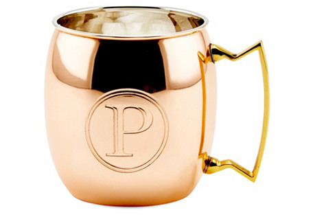 Copper Moscow Mule Mug, Monogram P, 16Oz