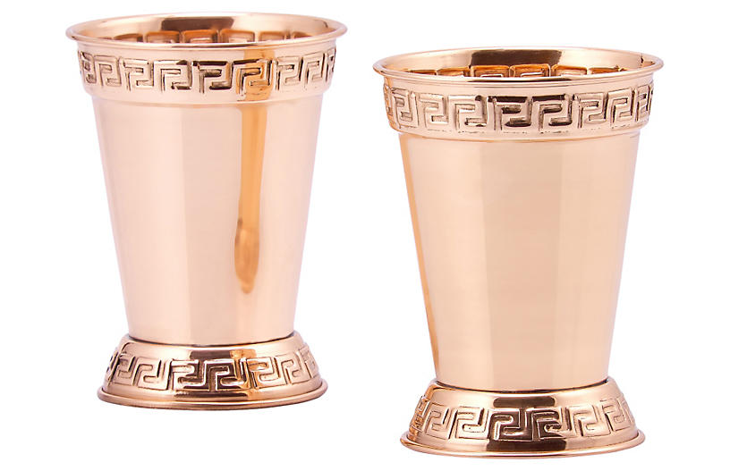 Set of 2 Solid Copper Mint Julep Cups