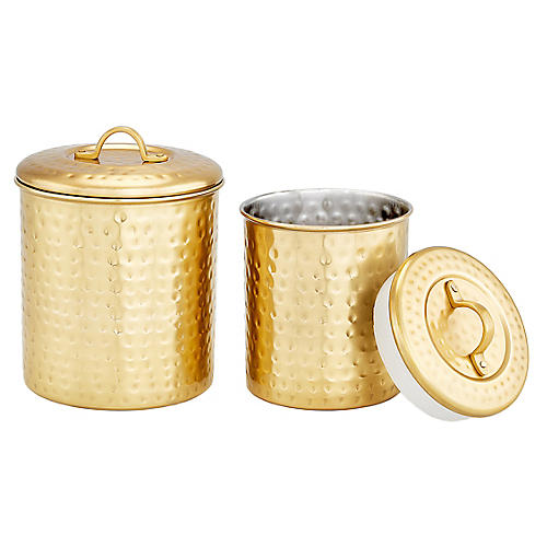 S/2 Anston Hammered Canisters, Gold