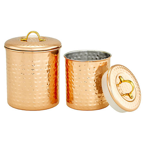 S/2 Anston Hammered Canisters, Copper/Brass