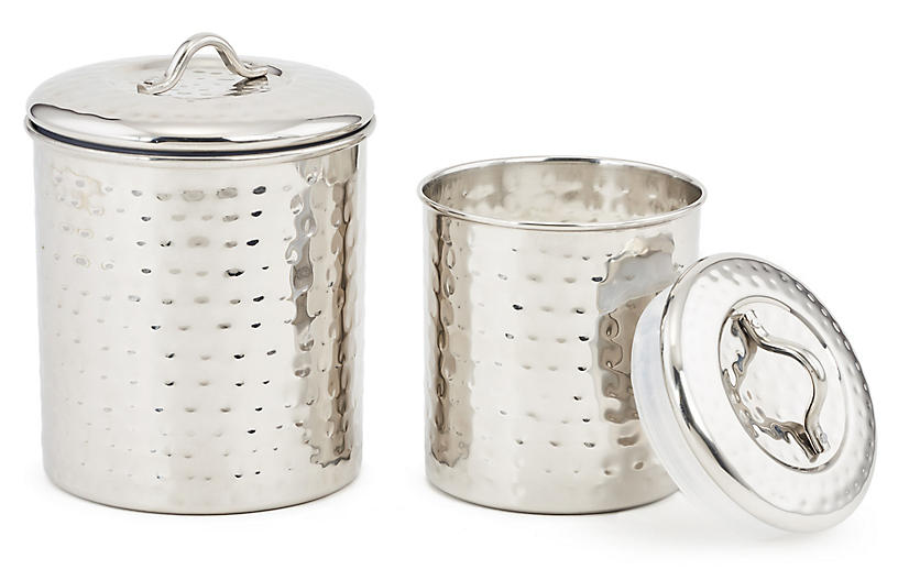 S/2 Anston Hammered Canisters, Silver