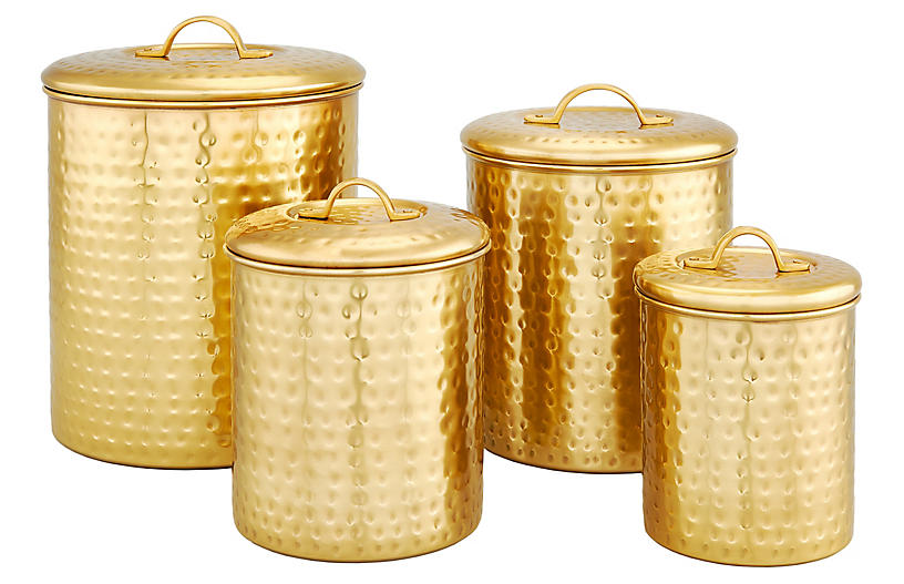 S/4 Anston Hammered Canisters, Champagne