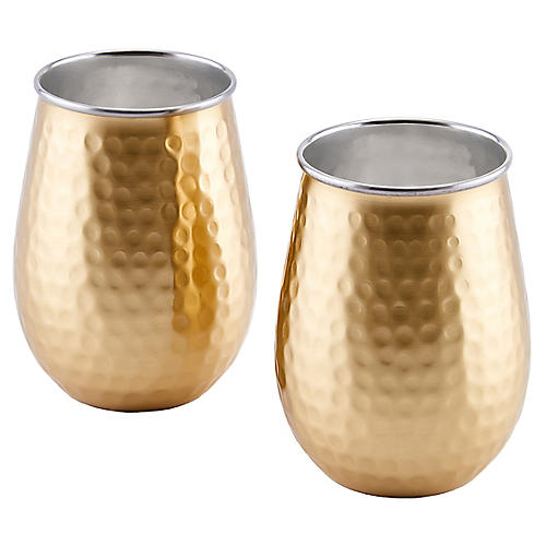 S/2 Furst Hammered Wineglasses, Gold