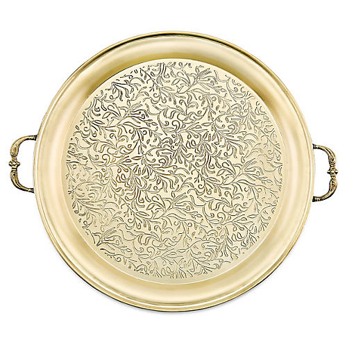 Haar Round Serving Tray, Gold