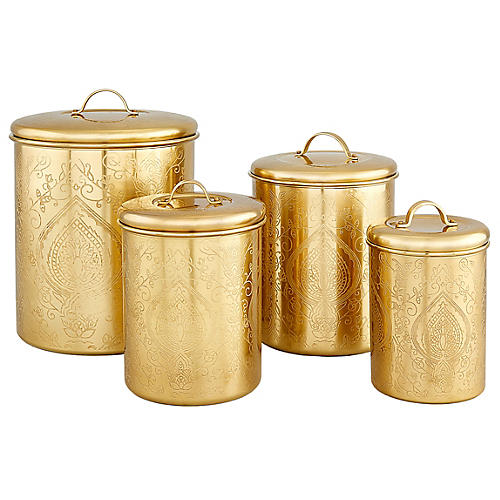S/4 Yost Canisters, Gold