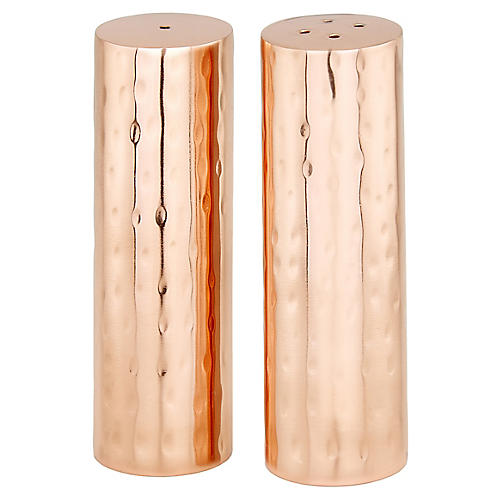 S/2 Beaumont Hammered S & P Shakers, Copper
