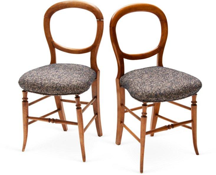19th-C. Balloon-Back Chairs, Pair