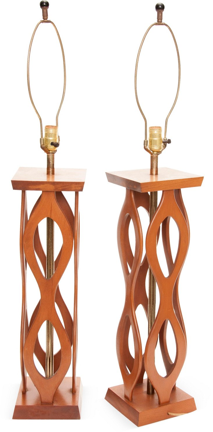 Midcentury Carved Lamps, Pair