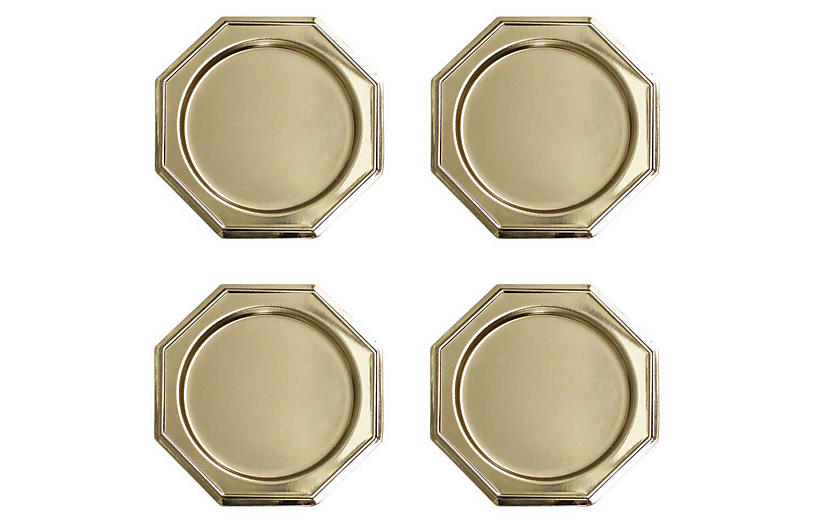 S/4 Octagon Coasters, Gold
