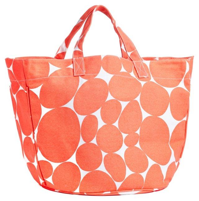Dotted Circle Tote, Orange/White