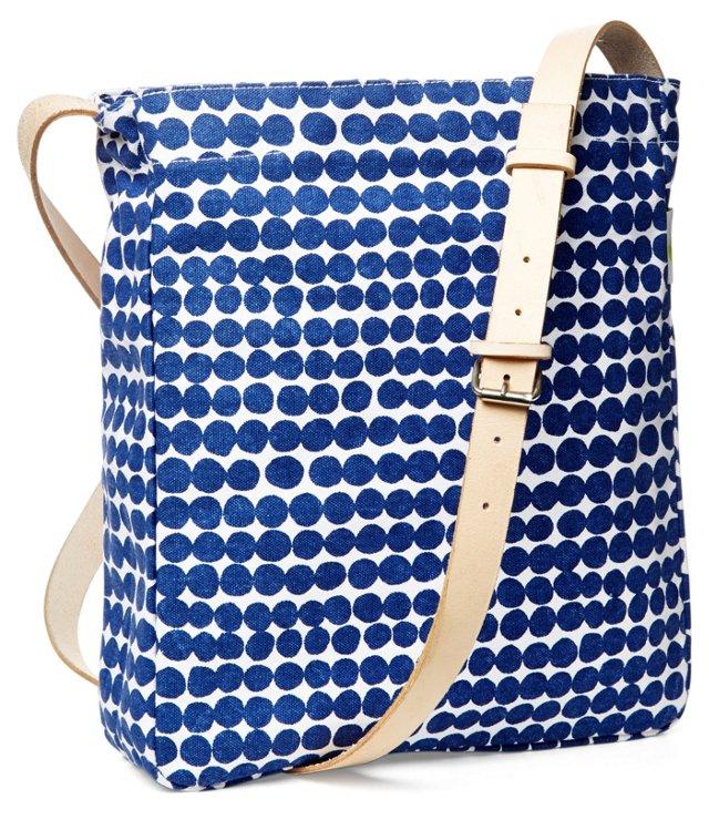 Dots Messenger Bag, Navy/White