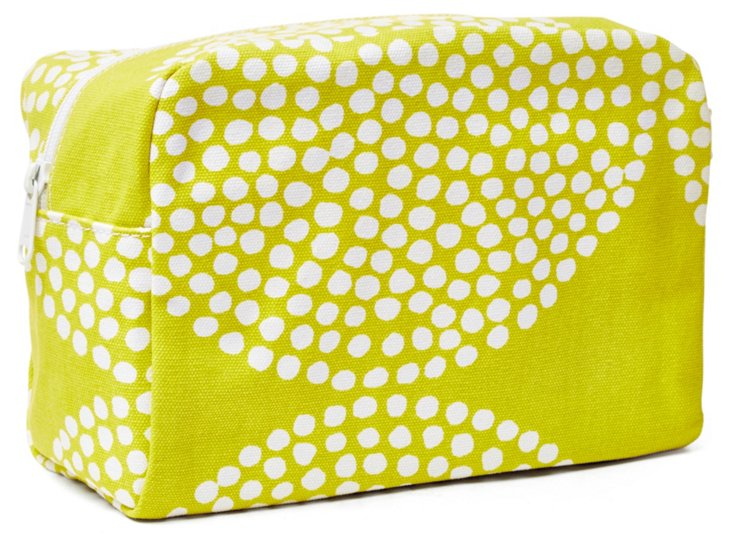 Large Big Wheel Cosmetic Bag, Lime/White