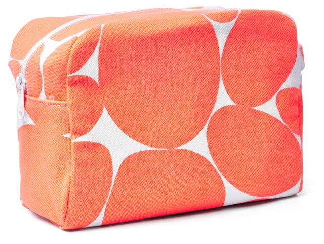 Large Cosmetic Bag, Orange/White