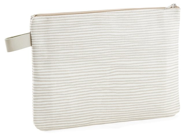 Large Strings Clutch, Silver/White