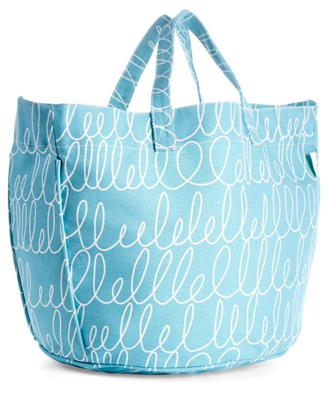 Notes Circle Tote, Turquoise