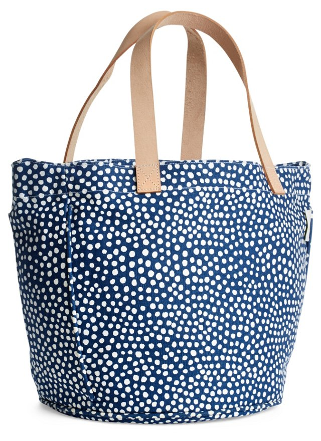 Leather Handle Circle Tote, Navy Drops
