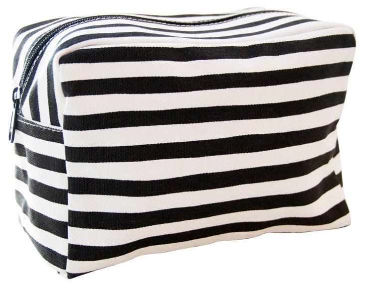 Large Cosmetic Bag, Black Stripe