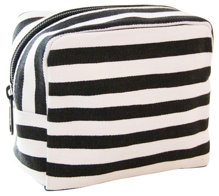 Small Cosmetic Bag, Black Stripe