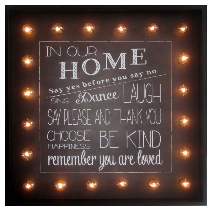 """Marquee """"In Our Home"""" Sign"""