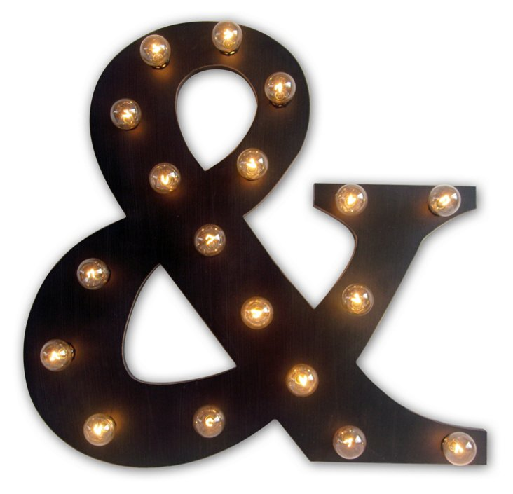 Marquee Light-Up Ampersand, Black