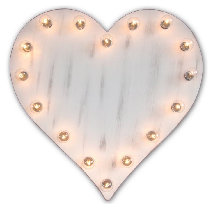 Marquee Light-Up Heart, Whitewash