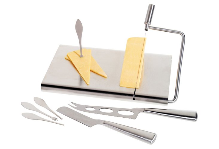 7-Pc Stainless Cheese Board Set