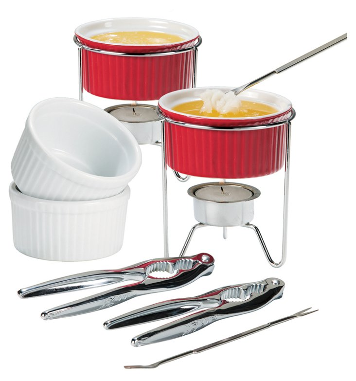 8-Pc Seafood Set, Red/White