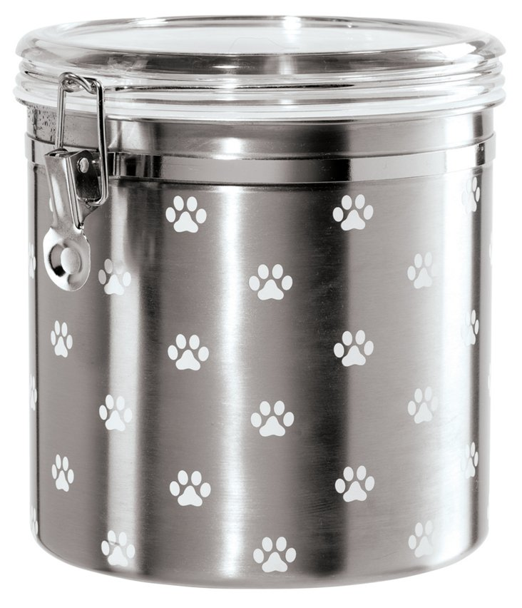 Paw Prints Airtight Canister, Silver