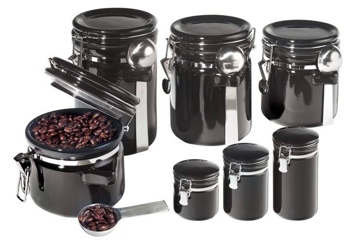 7-Pc Round Canister Set w/ Lids, Black