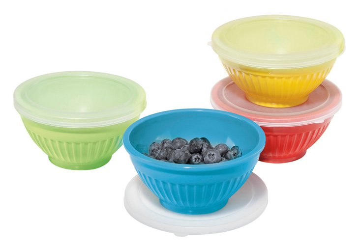 S/8 Assorted Colored Prep Bowls w/ Lids