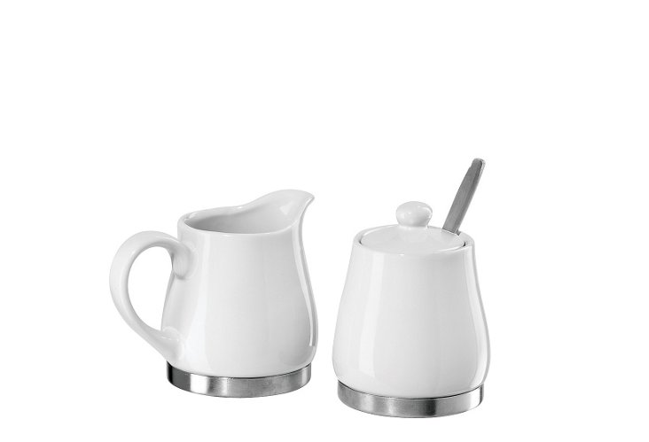 Ceramic Sugar & Creamer with S/S Base