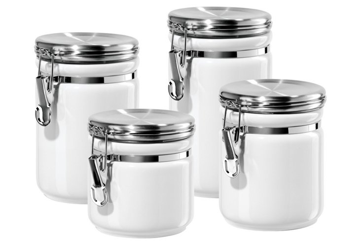 4-Pc Round Canister Set w/ Lids, White