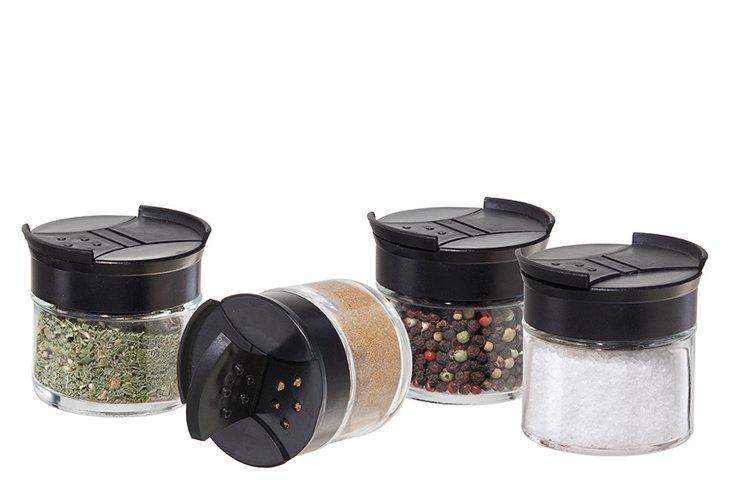 S/2 4-Pc Glass Spice Jar Sets w/ Lids