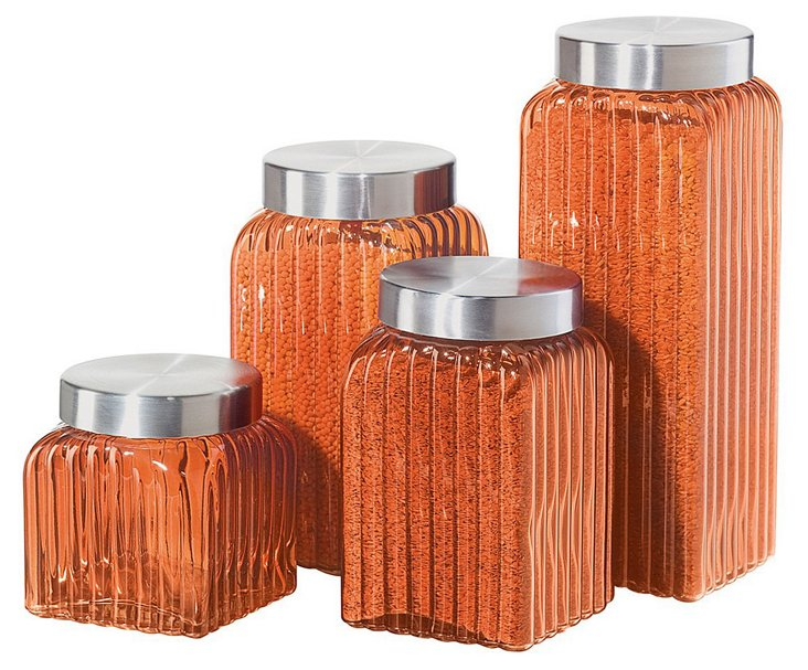 S/4 Ribbed Glass Canisters, Amber