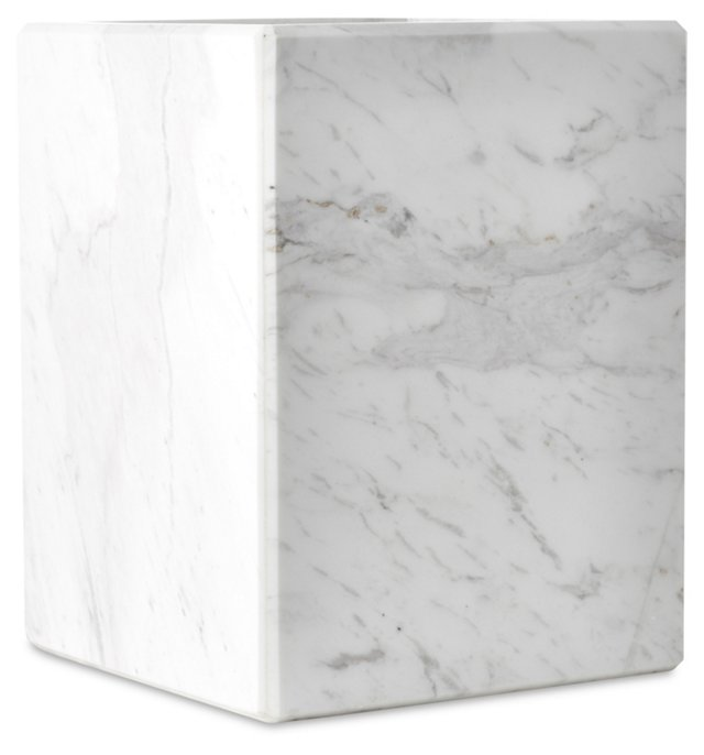 Luna Marble Covered Wastebasket, White