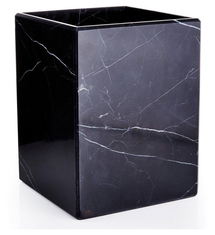 Luna Marble Covered Wastebasket, Black