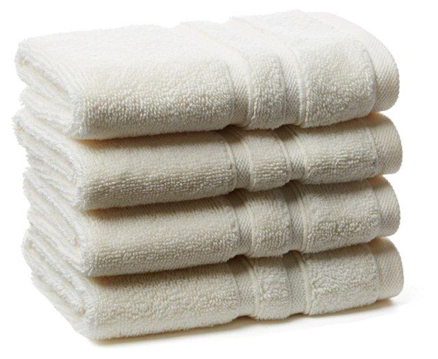 S/4 Solid Dobby Washcloths, Ivory