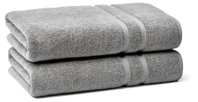 S/2 Solid Dobby Bath Towels, Icicle