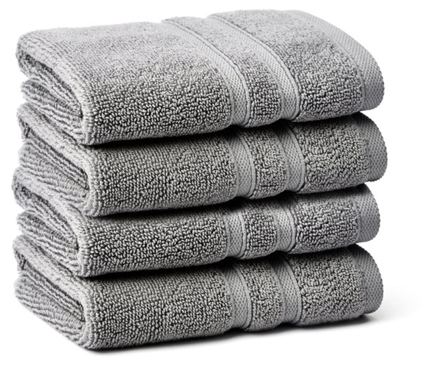 S/4 Solid Dobby Washcloths, Icicle