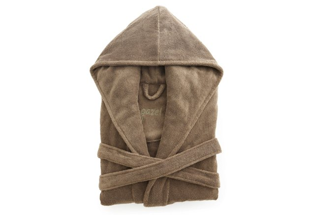 Women's Short Hooded Robe, Khaki