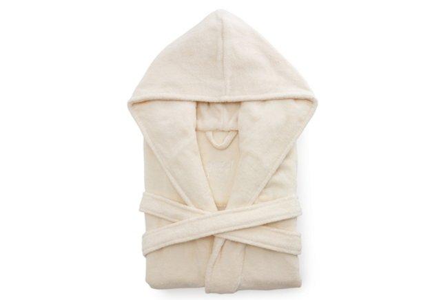 Women's Organic Short Hooded Robe, Cream