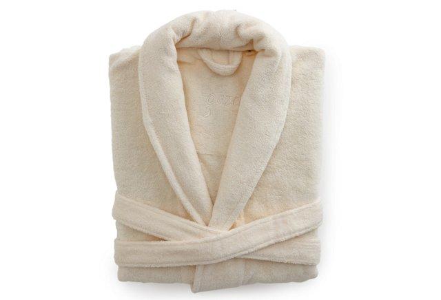 Women's Organic Shawl Collar Robe, Cream