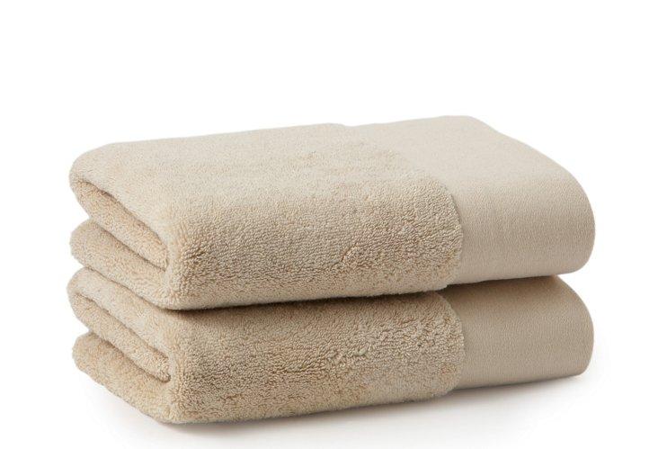 S/2 Organic Hand Towels, Stone