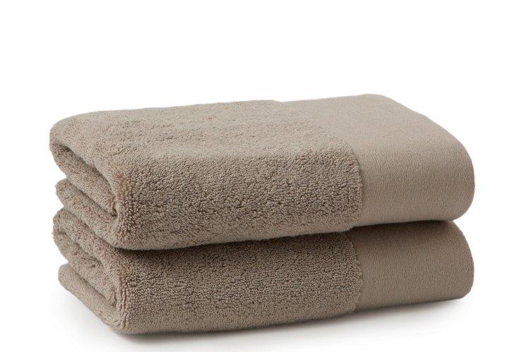S/2 Organic Hand Towels, Dark Natural