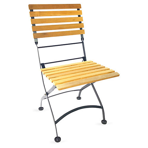 Teak Bistro Chair, Natural/Black