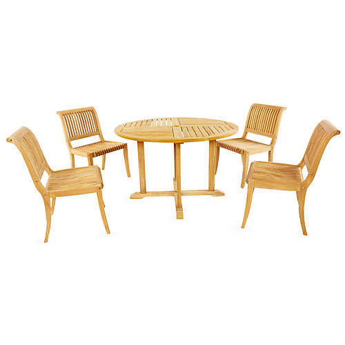 Coastal Teak 5-Pc Dining Set