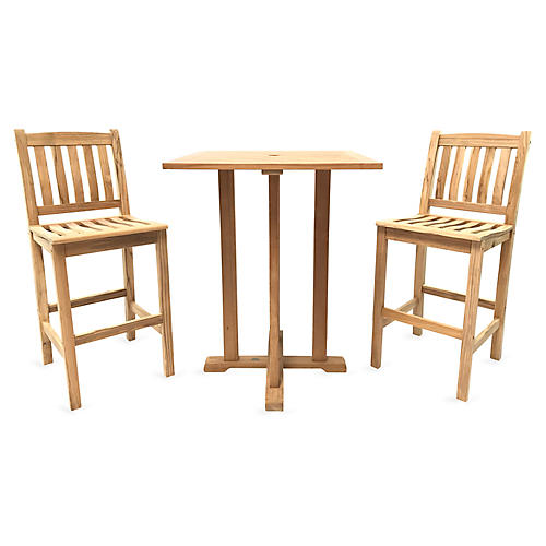 Norman Teak 3-Pc Bar Set