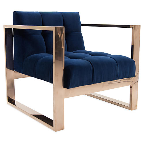 Paxton Chair, Navy Velvet
